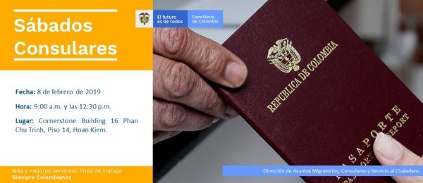 El Consulado de Colombia en Hanói invita a la jornada de Sábado Consular que realizará el 8 de febrero de 2020