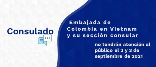 Embajada de Colombia en Vietnam y su sección consular no tendrán atención al público el 2 y 3 de septiembre