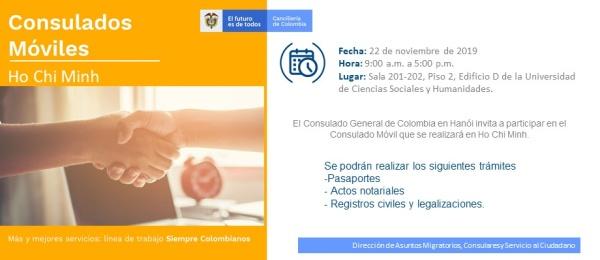 Jornada de Consulado Móvil en Ho Chi Minh el 22 de noviembre organizara por el Consulado de Colombia