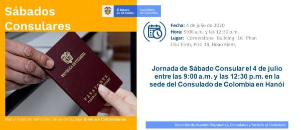 Jornada de Sábado Consular el 4 de julio entre las 9:00 a.m. y las 12:30 p.m. en la sede del Consulado de Colombia